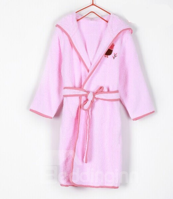 Lovely Chicken Embroideried Solid Color Purified Cotton Kids Robe