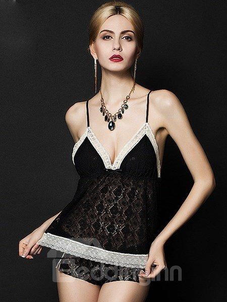 European Style Lavishly Design Sexy V-shape Top and Bottom Chemise Set