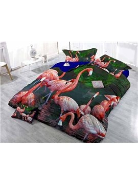 3D Flamingo Digital Printing Satin Drill 4-Piece Duvet Cover Sets