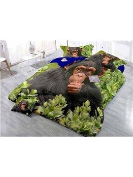 Orangutan High-Definition Digital Printing Satin Drill 4-Piece Duvet Cover Sets