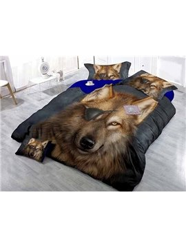 Cool 3D Wolf Print Satin Drill 4-Piece Duvet Cover Sets