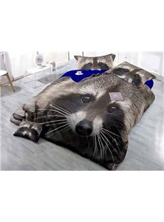 3D Raccoon High-Definition Digital Printing Satin Drill 4-Piece Duvet Cover Sets