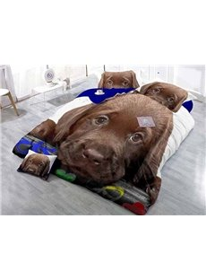 Lying Brown Dog Print Satin Drill 4-Piece Duvet Cover Sets
