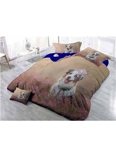 Lovely White Puppy in Flowers Print Satin Drill 4-Piece Duvet Cover Sets
