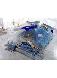 Creative Animal Driving Moto Print Blue Satin Drill 4-Piece Duvet Cover Sets