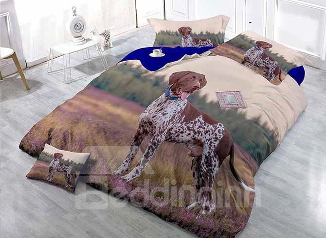 Cute Dog in Flowers Print Satin Drill 4-Piece Duvet Cover Sets