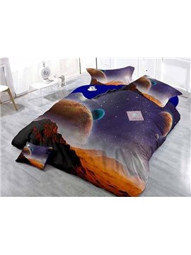 Super Cool 3D Planets Theme Satin Drill 4-Piece Duvet Cover Sets