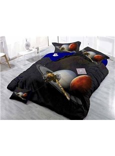 Black 4-Piece Duvet Cover Sets with Planets Print