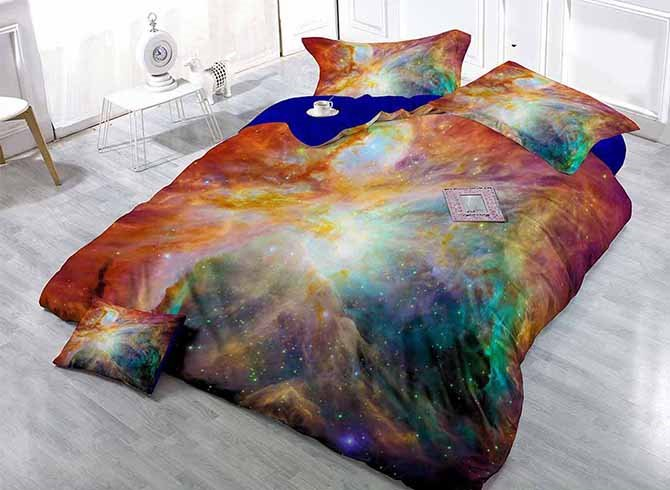 Fancy Cool Colorful Galaxy Print Satin Drill 4-Piece Duvet Cover Sets