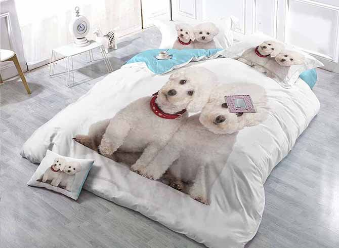 Lovely White Puppies Print Satin Drill 4-Piece Duvet Cover Sets