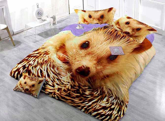 Golden Hedgehog Digital Printing Satin Drill 4-Piece Duvet Cover Sets