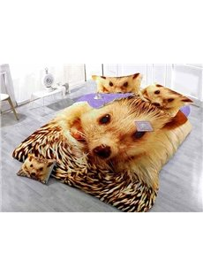 Golden Hedgehog Digital Printing Satin Drill 4-Piece Duvet Cover Sets