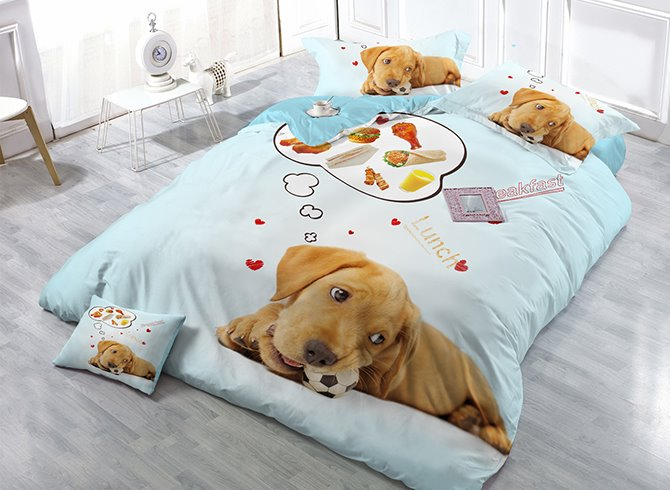 Creative Dog Thinking Lunch Food Print Satin Drill 4-Piece Duvet Cover Sets