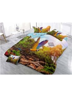 Flying Parrot Print Satin Drill 4-Piece Duvet Cover Sets