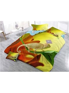 Vivid Lizard Print Satin Drill 3D 4-Piece Duvet Cover Sets