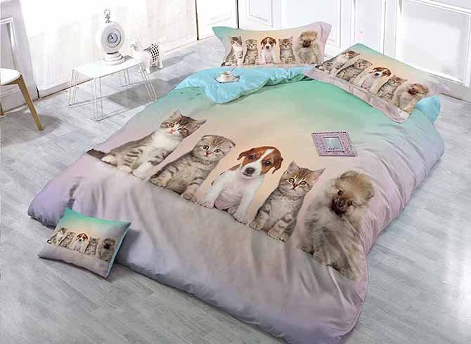 Couchant Cats And Dogs Print Satin Drill 4 Piece Duvet