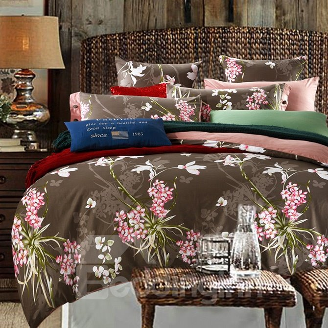 Small Pink Flowers Reactive Printing Brown 4-Piece Duvet Cover Sets