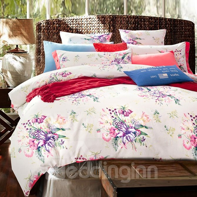 Flowers and Leaves Print Comfy Cotton 4-Piece Duvet Cover Sets