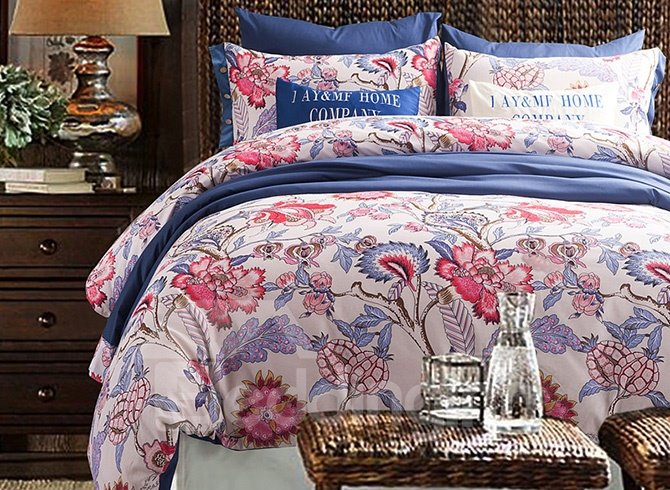American Pastoral Style 100% Cotton 4-Piece Floral Duvet Cover Sets
