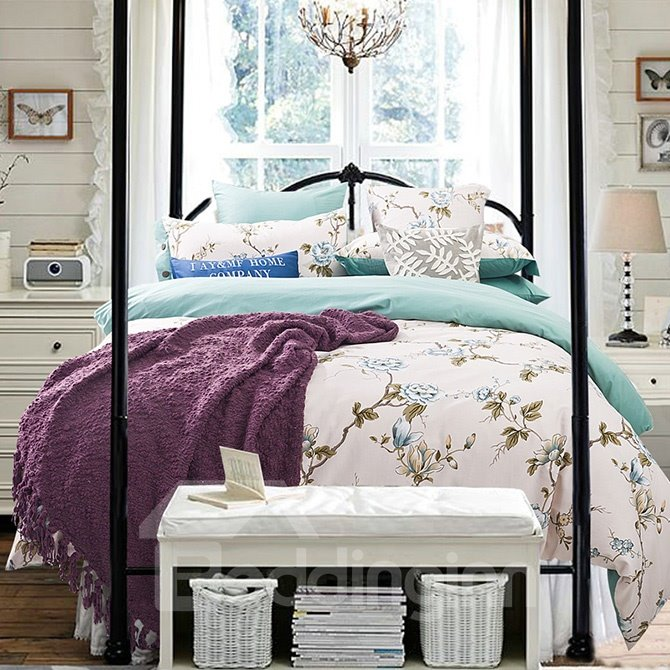 Pastoral Flowering Branch Print Cotton 4-Piece Duvet Cover Sets