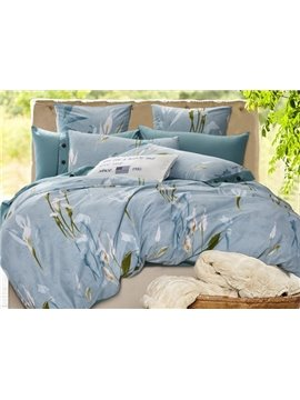 Graceful Calla Lily Print Cotton Blue 4-Piece Duvet Cover Sets