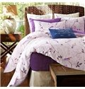 Simple Leaves and Branch Print Cotton 4-Piece Duvet Cover Sets
