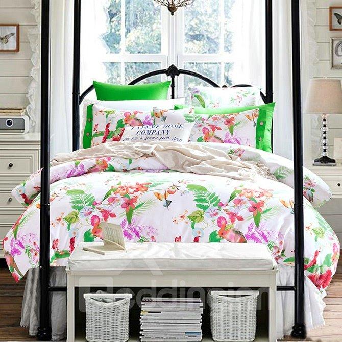 Pastoral Flowers and Leaves Print Cotton 4-Piece Duvet Cover Sets