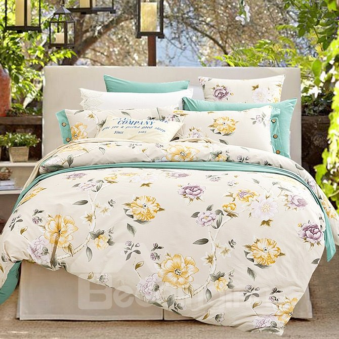 Yellow and purple floral printing cotton 4 piece duvet - Purple and yellow bedding ...
