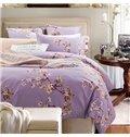 Graceful Pastoral Floral Style Purple 4-Piece Cotton Duvet Cover Sets