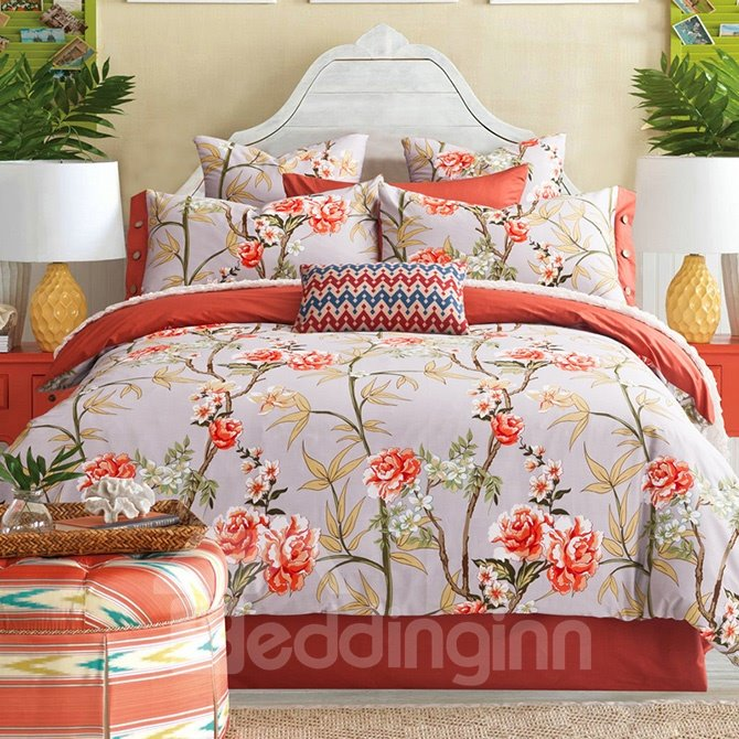 Bright Pastoral Style Orange Flowers Printing 4 Piece