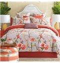 Bright Pastoral Style Orange Flowers Printing 4-Piece Cotton Duvet Cover Sets