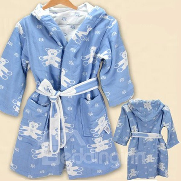 Super Lovely Bear Pattern Kids 100% Cotton Robe