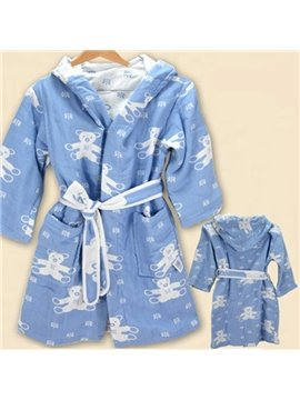 Super Lovely Bear Pattern Kids 100% Cotton Robe