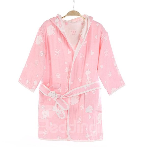 Lovely Elephant and Deer Pattern Purified Cotton Kids Robe
