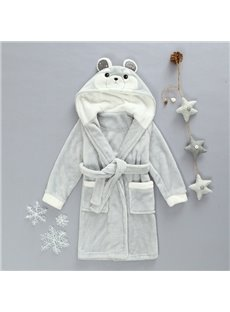 Super Lovely Warm Flannel Bear Shape Hooded Kids Robe