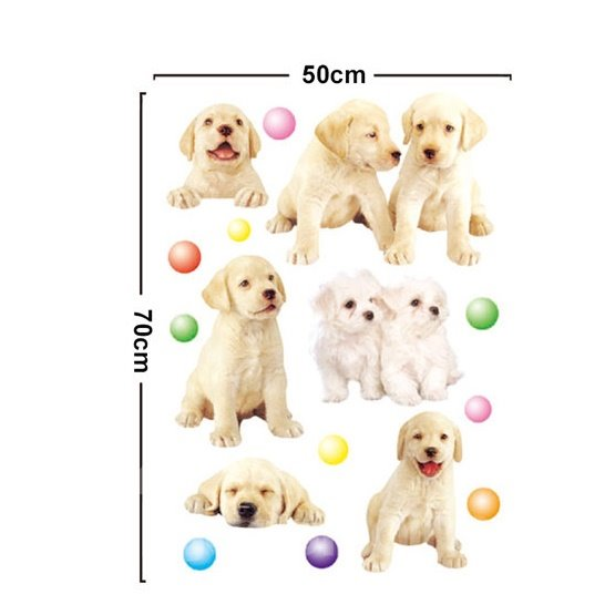 Adorable Pet Dogs Removable Wall Sticker