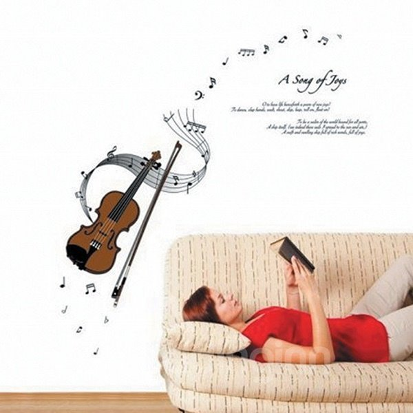 Wonderful Violin and Musical Notes Removable Wall Sticker