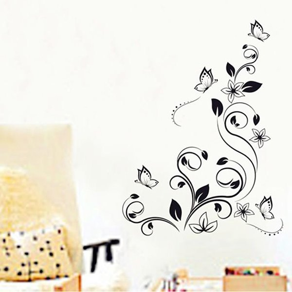 Unique Abstract Black Flower Vines and Butterfly Removable Wall Sticker
