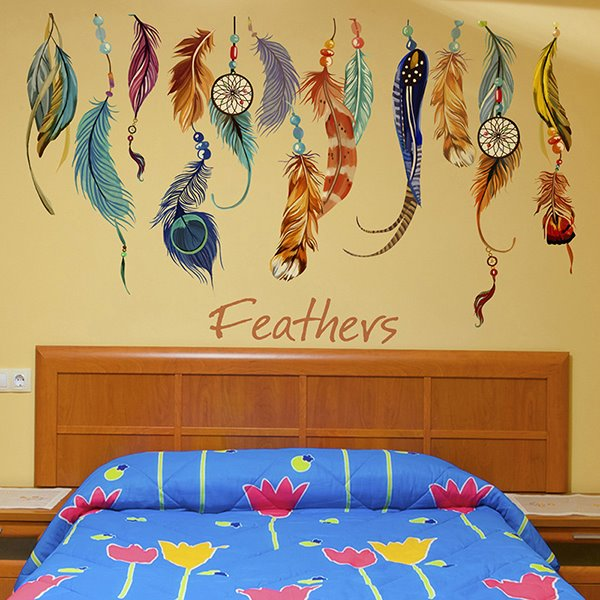 unique large colorful feathers removable wall sticker pics photos bird tree removable large wall sticker wall