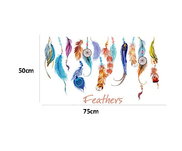 Unique Large Colorful Feathers Removable Wall Sticker