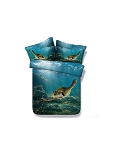 Happy Swimming Turtle Blue Ocean Print 5-Piece Comforter Sets