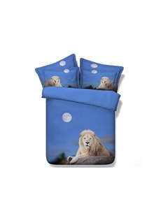 Moonlight Crouched Lion Blue 5-Piece Comforter Sets