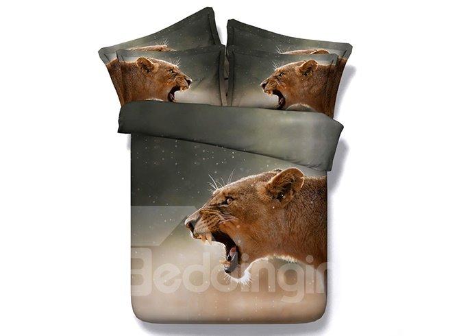 Powerful Roaring Brown Leopard Print 4-Piece Duvet Cover Sets