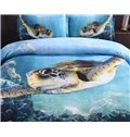 Swimming Turtle Blue Ocean Print 4-Piece Duvet Cover Sets