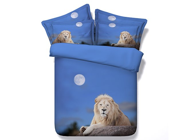 Moonlight Crouched Lion Blue 4-Piece Duvet Cover Sets