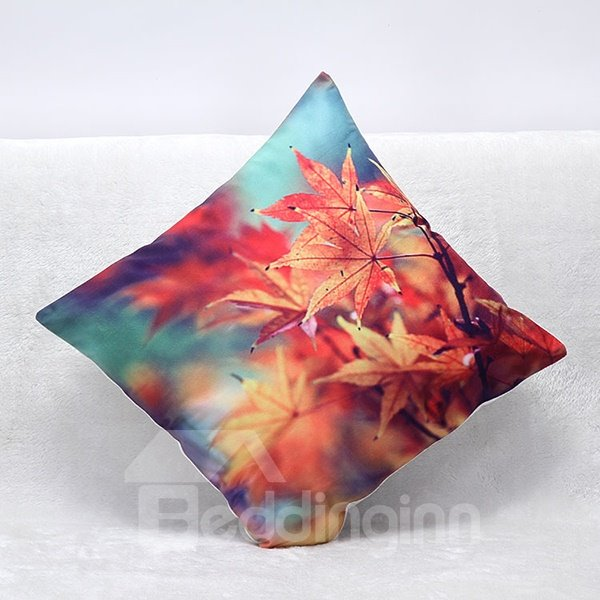 Graceful Maple Leaves Print Plush Throw Pillow
