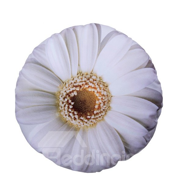 Vivid 3D Big White Flower Design Plush Cushion