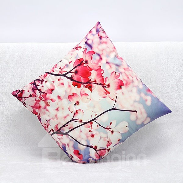 Pastoral Red Flowers Print Plush Throw Pillow