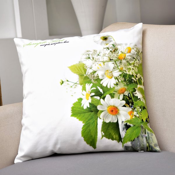 Pastoral White Daisy Print Fluffy Throw Pillow