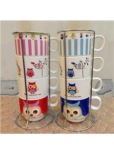 Cartoon Owl Pattern 4-Piece Ceramic Coffee Mug Sets